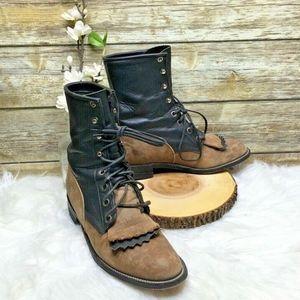Justin Black & Brown Leather Kiltie Granny Boots
